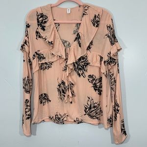 🌷BP | Pink Long Sleeve Ruffle Floral Pattern Top